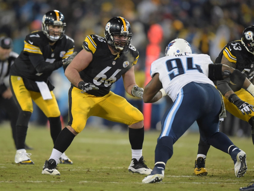 18de1f01d4a Nov 17, 2014; Nashville, TN, USA; Pittsburgh Steelers guard David DeCastro  (66) defends against Tennessee Titans nose tackle Sammie Hill (94) as  Steelers ...